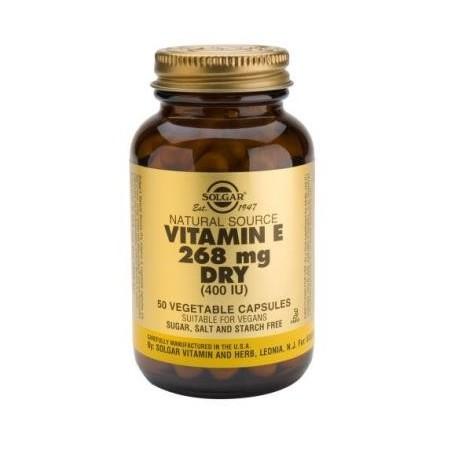 Vitamina E 400iu Dry 268mg 50veg caps Não oleosa - Solgar