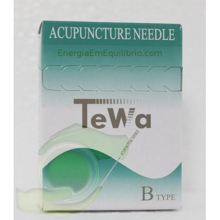 Agulhas TeWa - 0,20x30 mm 100 agulhas revestidas c/ guia individual