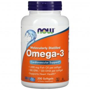 Now Omega-3 1000mg (180 EPA/120 DHA) 200 cápsulas